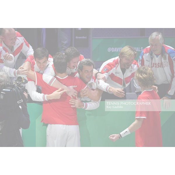 2019 DAVIS CUP FINALS by Rakuten Quarterfinal RUSSIA defeated Croatia 2-1 In the decisive doubles Karen Khachanov (RUS),with the blue cap,/Andrey Rublev (RUS),with the white bandana, defeated Novak Djokovic (SRB)/Viktor Troicki (SRB) 64 46 76 (10-8) Photo © Ray Giubilo 2019